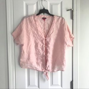 Vince Camuto Salmon Pink Button Tie Front Crop Top